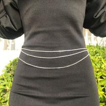 Silver Fashion Rhinestone Waist Chain