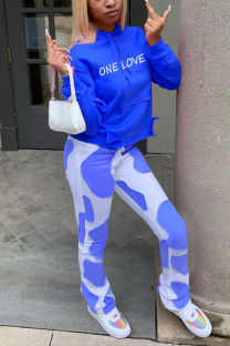 Blue Casual Print Letter Hooded Collar Long Sleeve Two Pieces