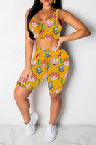 Yellow Polyester Fashion Casual adult Patchwork Print Character Two Piece Suits pencil Sleeveless Two Pieces