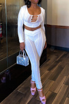 White Sexy Solid Split Joint Mesh U Neck Long Sleeve Two Pieces