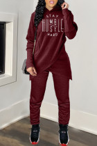 Wine Red Casual Letter Split Joint Hooded Collar Long Sleeve Two Pieces
