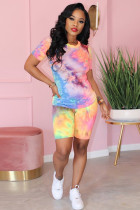 purple Polyester adult Fashion Casual Two Piece Suits Print Tie Dye Gradient Patchwork contrast color penci