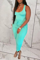 Blue Casual Solid Split Joint U Neck Sleeveless Two Pieces