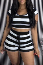 Black Casual Striped Print Basic O Neck Short Sleeve Two Pieces