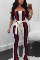 White Fashion Sexy Print Striped Patchwork Polyester Sleeveless one word collar Jumpsuits
