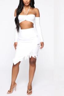 White Denim Elastic Fly High Solid Tassel Hole Asymmetrical Old Hip skirt Bottoms