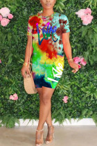 Orange Polyester Fashion Street Print Two Piece Suits Straight Short Sleeve Two Pieces