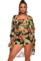 Black Polyester Fashion Sexy Patchwork Print Straight Two-Piece Short Set