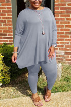 Grey Fashion Casual Solid Basic O Neck Plus Size Set