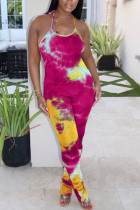 rose red Fashion Light Print Draped Polyester Sleeveless Hanging neck Jumpsuits