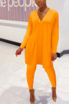 Orange Polyester Fashion Casual adult Ma'am Solid Two Piece Suits pencil Long Sleeve Two Pieces