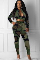 Camouflage Polyester Celebrities Two Piece Suits Print pencil Long Sleeve Two-piece Pants Set