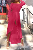 Rose Red Casual Solid Slit Off the Shoulder Irregular Dress Dresses