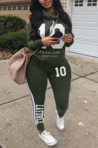 Army Green Fashion Casual Print Split Joint Turtleneck Long Sleeve Two Pieces