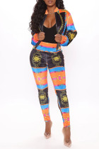 Multicolor Fashion Casual Print Basic Zipper Collar Long Sleeve Two Pieces
