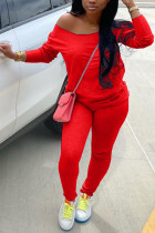 Red Milk Silk Fashion Active adult Ma'am Solid Two Piece Suits Straight Long Sleeve Two Pieces