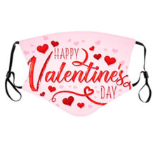 Pink Fashion Casual Heart-shaped Print Face Mask