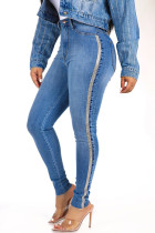 Blue Denim Zipper Fly Sleeveless Mid Solid Patchwork pencil Pants Pants