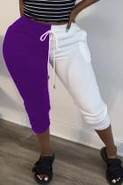 purple Fashion Street Adult Cotton Patchwork Solid Split Joint Straight Bottoms