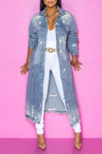 Light Blue Fashion Casual Solid Ripped Turndown Collar Long Sleeve Regular Denim Jacket