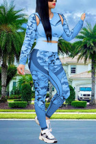 Baby Blue Fashion Sexy Casual Polyester Spandex Fiber Patchwork Print Pierced Camouflage Print Hollowed Out Split Joint Capris O Neck Long Sleeve Regular Sleeve Short Two Pieces