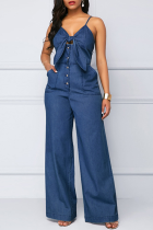 Dark Blue Casual Solid Split Joint Buckle Spaghetti Strap Loose Jumpsuits