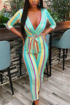 Green Work Daily Polyester Print V Neck Skinny Jumpsuits