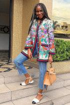 Multi-color Mandarin Collar Floral Polyester Long Sleeve Coats & Cardigan