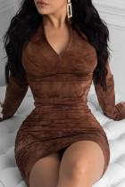 Khaki Polyester Fashion adult Ma'am Street Cap Sleeve Long Sleeves O neck Pencil Dress Knee-Length Print Dresses