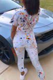 White Fashion Casual Print O Neck Short Sleeve Two Pieces