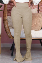 Coffee Fashion Street Adult Polyester Solid Flounce Boot Cut Bottoms