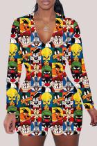 cartoon Fashion Adult Living Print V Neck Skinny Jumpsuits