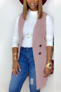 Pink Fashion British Style Adult Polyester Solid Cardigan Turndown Collar Tops