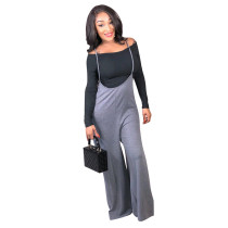Black High Solid Loose Pants Two-piece suit