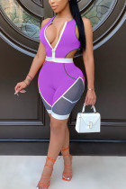 purple Polyester Sexy Active Casual Patchwork Print contrast color Zippered HOLLOWED OUT pencil Sleeveless Two Pieces