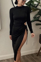 Black Sexy Polyester Solid Hollowed Out Frenulum Fold Mandarin Collar Long Sleeve Ankle Length Pencil Skirt Dresses