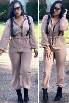 Khaki Casual Solid zipper Polyester Long Sleeve Turndown Collar Jumpsuits