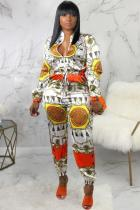 multicolor Fashion Sexy zipper Patchwork Print Polyester Long Sleeve Mandarin Collar Jumpsuits