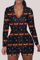 Multi-color Fashion Adult Living Print V Neck Skinny Jumpsuits