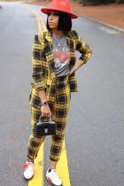 Yellow venetian Celebrities Plaid Two Piece Suits Print pencil Long Sleeve