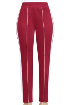 Red Casual Active Patchwork Flat Straight Midweight Pants