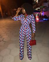 Multi-color Drawstring Mid Print Straight Pants Jumpsuits & Rompers
