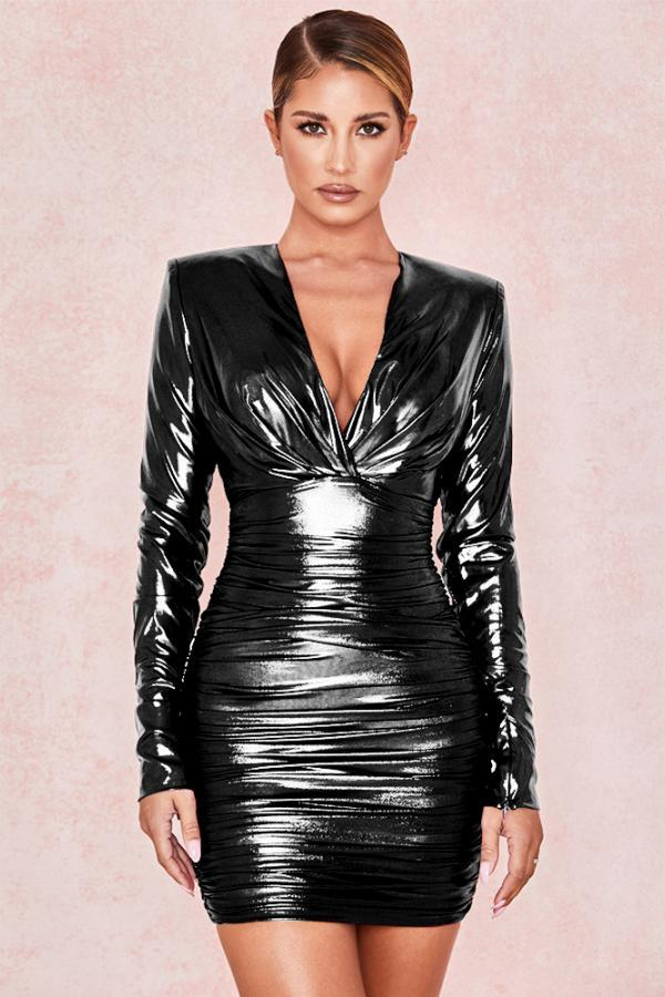 Black adult Sexy Fashion Cap Sleeve Long Sleeves V Neck Step Skirt Mini Draped chain Fluorescent