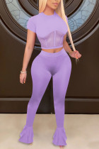 purple Polyester Fashion Sexy adult Ma'am Patchwork Solid Two Piece Suits Straight Short Sleeve Two Pieces