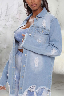Light Blue Sexy Solid Ripped Make Old Turndown Collar Outerwear