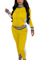 Yellow Casual Sportswear Polyester Spandex Cotton Blends Patchwork Solid Split Joint Pants Zipper Collar Long Sleeve Regular Sleeve Regular Two Pieces