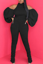 Black Fashion Sexy Adult Knitting Solid Backless Halter Straight Jumpsuits