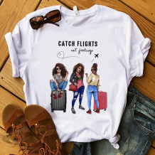 White Fashion Casual Print Basic O Neck T-Shirts