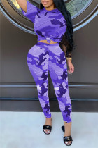 Purple Fashion Casual Camouflage Print Basic O Neck Short Sleeve Two Pieces