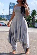 Grey Fashion Sexy Patchwork Solid Polyester Sleeveless Slip Jumpsuits